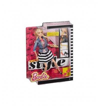 Chemise de jeans pour le caractère Barbie et jupe rayé noir blanc BLR55/CFM75 Mattel- Futurartshop.com