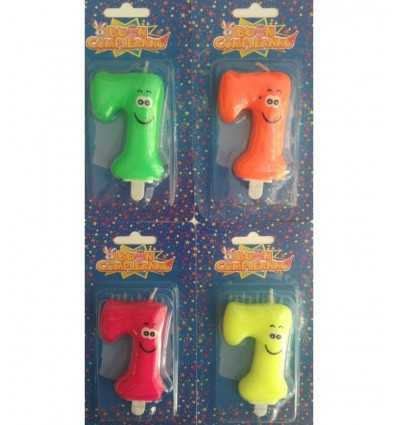 smiley face candles number 7 4 fluo colours CN 1250G New Bama Party- Futurartshop.com