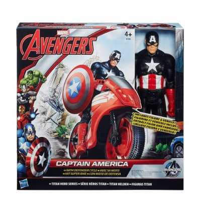 Avengers Titan Hero Capitain America con Super moto B0431EU40/B1492 Hasbro-Futurartshop.com