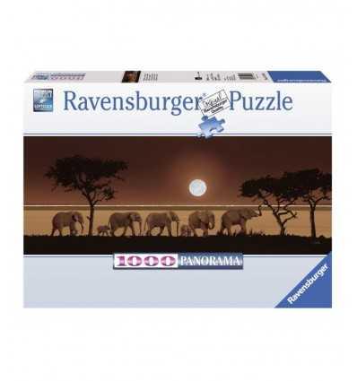 Puzzle 1000 elementów panoramy słonie w mieście savanna 15110 Ravensburger- Futurartshop.com