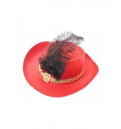 Cappello moschettiere rosso 005434 Veneziano-Futurartshop.com
