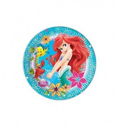 Ariel lilla sjöjungfrun tallrikar 8 St 23 cm 5PR82205 New Bama Party- Futurartshop.com