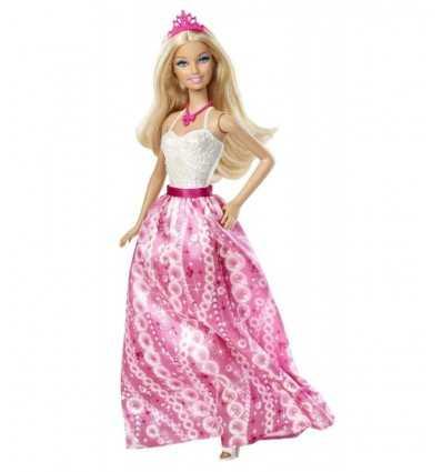Partido de Barbie Princess con vestido rosa y blanco R6390RB Mattel- Futurartshop.com