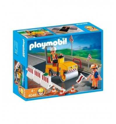 アスファルトのスラブとプレイモービル ロード ローラー 4048 Playmobil- Futurartshop.com