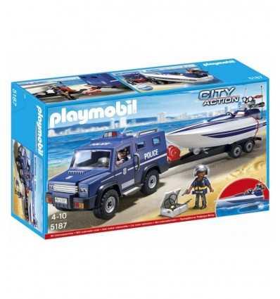 Bateau de police Playmobil et Jeep 5187 Playmobil- Futurartshop.com