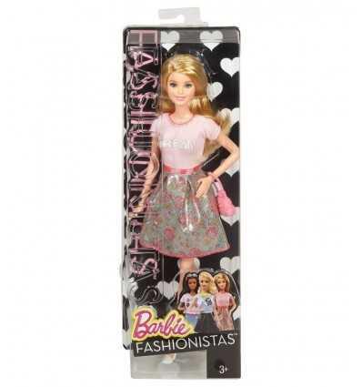 Barbie fashionistas con vestido de falda verde y flores rosadas BCN36/CLN60 Mattel- Futurartshop.com