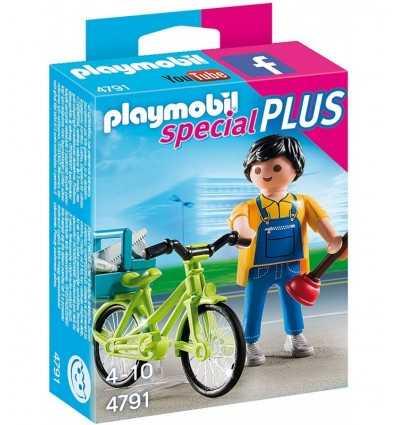Playmobil plumber with bike 4791 Playmobil- Futurartshop.com
