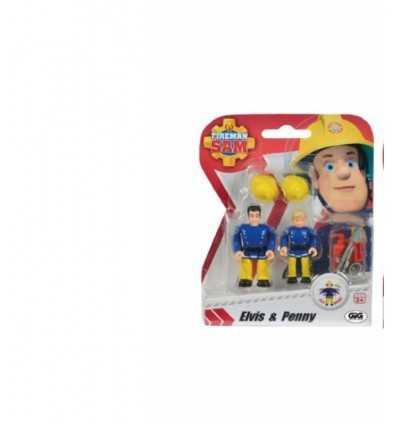 Blister de Sam de pompier avec penny de deux personnages et elvis NCR18233/4 Gig- Futurartshop.com