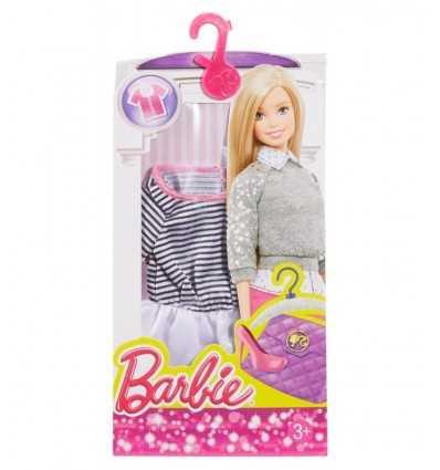 Barbie moda fashion short white dress with black stripes CFX73/DHH44 Mattel- Futurartshop.com