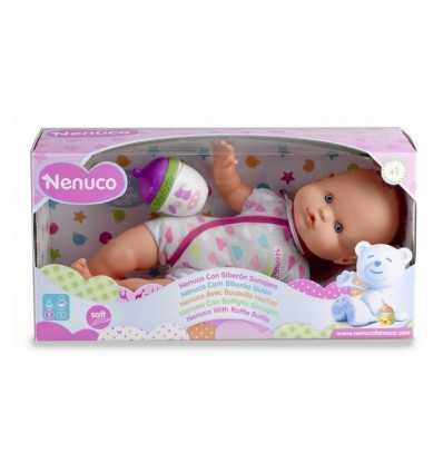 bambola nenuco con bottiglia sonaglio e tutina grigia 700012087/21695 Famosa-Futurartshop.com