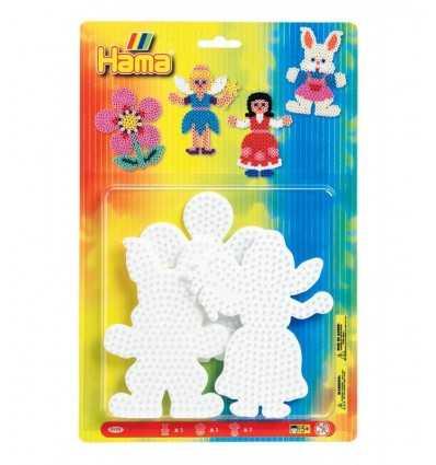 blister con 3 basi coniglio e fata e fiore hama 4558.AMA Hama-Futurartshop.com
