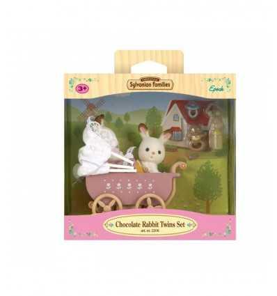 gemelos de chocolate conejo de teca maciza con cochecito 2206.SYL Epoch- Futurartshop.com