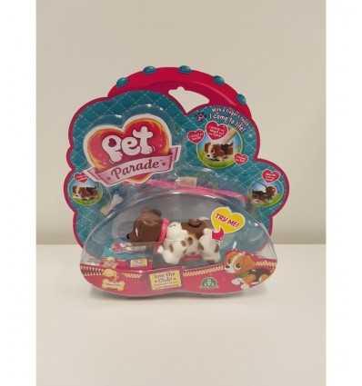 Pet Parade cagnolino bianco con macchie marroni e con collare rosa PTD00131/5 Giochi Preziosi-Futurartshop.com