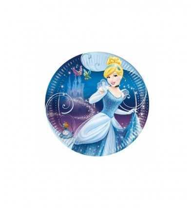8 små tallrikar 20 cm Cinderella i kartong för parterna CGM80997 Magic World Party- Futurartshop.com