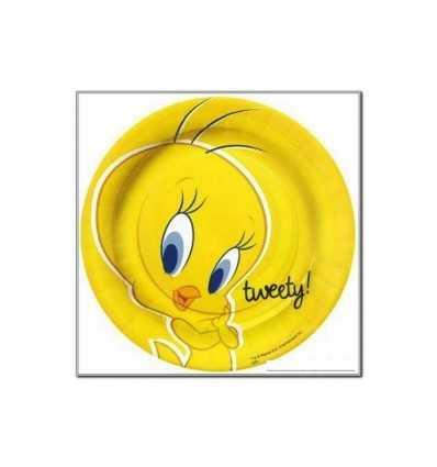 10 large cardboard Plates 23 cm Tweety 115837 115837 Magic World Party- Futurartshop.com