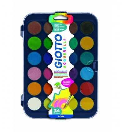 Giotto Aquarelle in 24 Farben, 30 mm, Pastigle mit Pinsel 332000 Giotto- Futurartshop.com