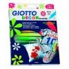 Giotto inredning textil tyg markörer i fallet med 8 standardfärger och 4 fluo färger 494900 Fila- Futurartshop.com