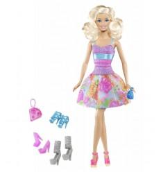 Mattel Y7495 Y7498-Barbie Fashionista en vestido de noche, Mora