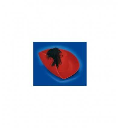 Cappello moschettiere rosso in feltro 8006 8006 Nuova Rio-Futurartshop.com
