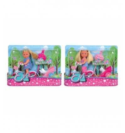 Evi i cykel med valp på trailer 105730783 Simba Toys- Futurartshop.com