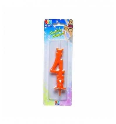 Candela Maxi Numero 4 arancione 70624 Como Giochi -Futurartshop.com