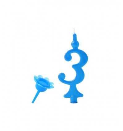 3 świeczki niebieski numer CC05203 New Bama Party- Futurartshop.com