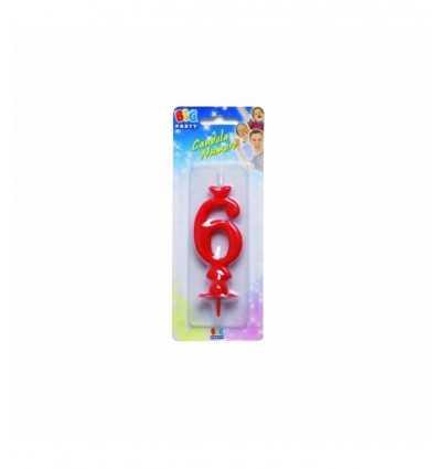 Maxi 6 bougie numéro rouge CC05306 New Bama Party- Futurartshop.com