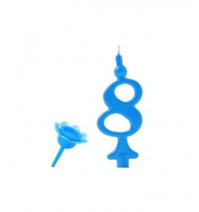Numéro 8 bougie bleue CC05208 New Bama Party- Futurartshop.com